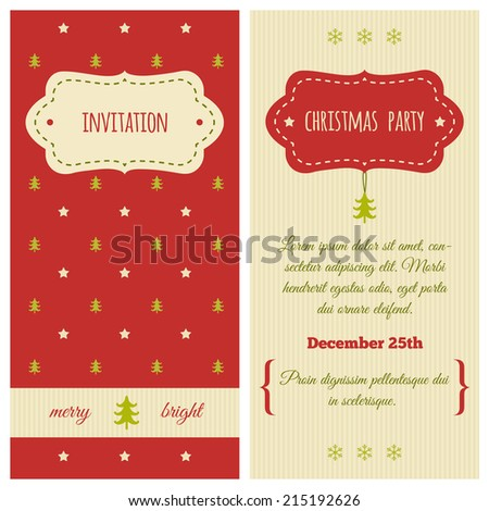 christmas invitation traditional red green colors stock vector