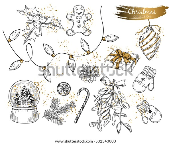 Christmas isolated objects set. Isolates vector objects on the white bachground.