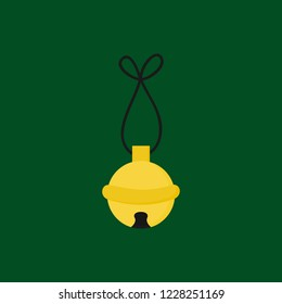 Christmas jingle bell vector illustration icon. Festive, holiday, seasonal, traditional yellow, gold jingle bell, isolated on green background.