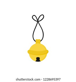 Christmas jingle bell vector illustration icon. Festive, holiday, seasonal, traditional yellow, gold jingle bell, isolated.