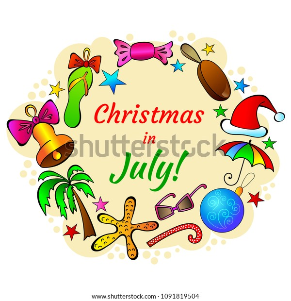 Christmas In July Invitations Free.Christmas July Card Bright Template Congratulations Stock
