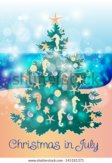 Christmas In July Royalty Free Images.Christmas July Fir Tree Decorated Ocean Stock Vector