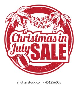 Christmas in July grunge rubber stamp on white background. EPS 10 vector illustration.