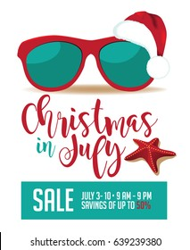 Christmas in July marketing background template with copy space. EPS 10 vector.