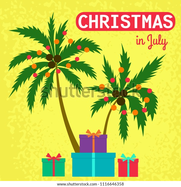 Christmas In July Clipart Free.Christmas July Palm Trees Gift Boxes Stock Vector Royalty