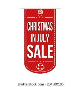 Christmas in july sale banner design over a white background, vector illustration