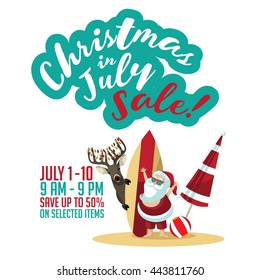 Christmas in July Sale marketing template. Christmas in July Sale advertisement with copy space. EPS 10 vector.