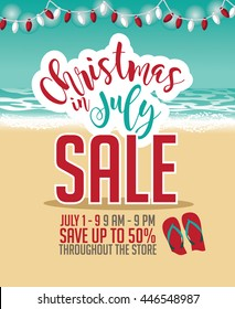 Christmas in July Sale marketing template. EPS 10 vector.