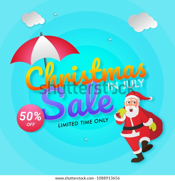 Christmas In July Royalty Free Images.Christmas July Sale Poster Banner Flyer Stock Vector