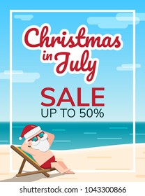 Christmas in July theme, Santa Claus wearing sunglasses sits sunbathing on a beach chair at the seaside with sea and sky as background, Sale marketing template, Vector illustration