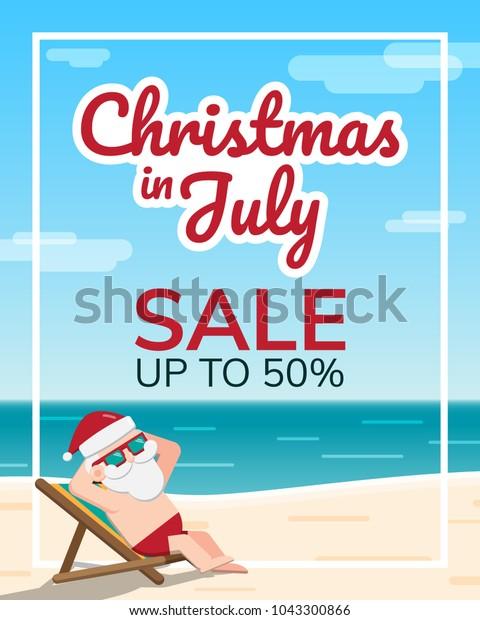 Christmas In July Santa Clipart.Christmas July Theme Santa Claus Wearing Stock Vector