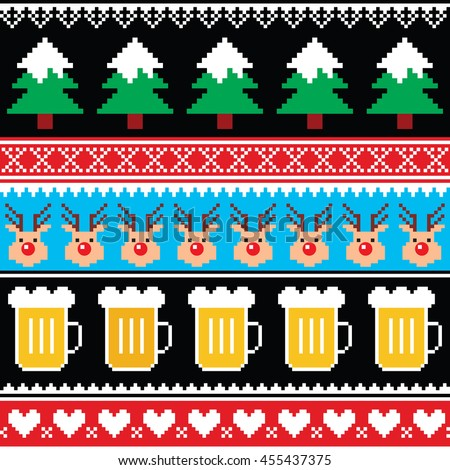 93e8e7916166 Christmas Jumper Sweater Seamless Pattern Beer Stock Vector (Royalty ...