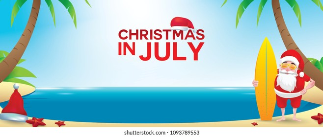 Christmas in June, July, August, for poster, marketing, advertising, summer sale, greeting card. santa in summer with copy space for text