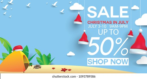Christmas in June, July, August, for poster, marketing, advertising, summer sale, greeting card. santa in summer with copy space discount offers.