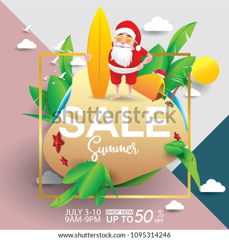 Christmas In August Poster.Christmas June July August Poster Marketing Stock Vector