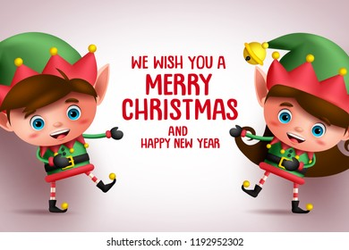 Christmas kid elves vector characters showing merry christmas greeting text in white background. Vector illustration banner template.