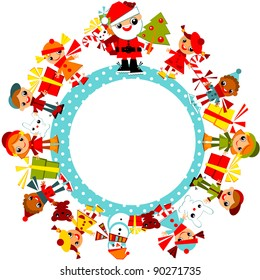 Christmas kids background. Children in winter clothes with Santa, standing in a circle on the planet. Vector illustration.