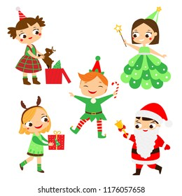 Christmas kids. Happy New year children in party costumes of Santa, Elf, deer and other.