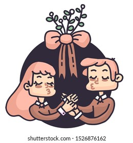 Christmas kiss under the mistletoe
