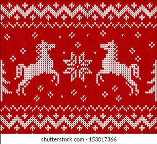 Christmas knit with horses in scandinavian style