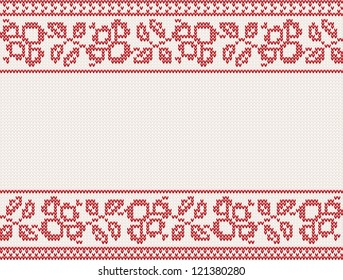 christmas knitted background with flower and place for text