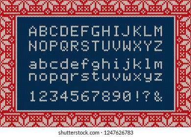 Christmas Knitted Font. Latin Alphabet Letters and Numbers on Knit Background