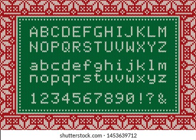 Christmas Knitted Font. Latin Alphabet Letters and Numbers on Wool Knit Seamless Background