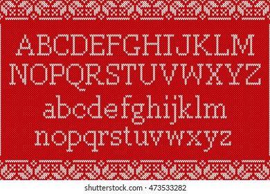 Christmas Knitted Font. Knitted Latin Alphabet on Seamless Background. Nordic Fair Isle Knitting Sweater Design