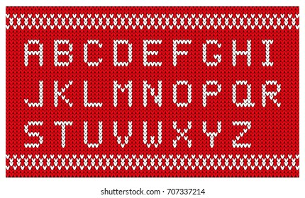 Christmas knitted font. Knitted latin alphabet.