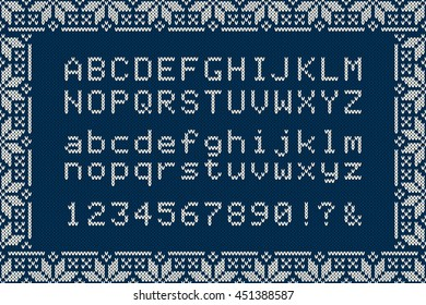 Christmas Knitted Font. Nordic Fair Isle Knitting Sweater Design. Knitted Latin Alphabet on Seamless Background.