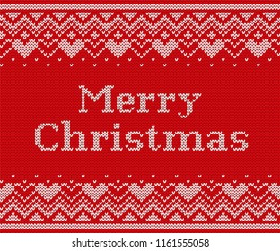 Christmas knitting background. Knit seamless design. Vector graphics. Xmas red pattern. Knitted winter texture with text Merry Christmas. Holyday fair sweater ornaments.