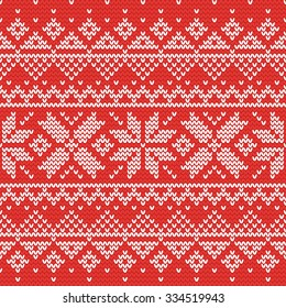 Christmas knitting seamless pattern with stars and triangles. Perfect for wallpaper, wrapping paper, pattern fills, winter greetings, web page background, Christmas and New Year greeting cards