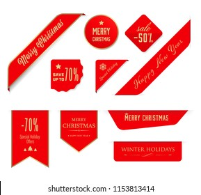 Christmas label and christmas banner tag set. red badges holiday sale. illustration vector design.