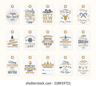 Christmas label set elements vector gold color with santa and deer, christmas ball, snowflake, gift, sweet on holiday background. Holiday emblem. Happy New Year. decoration element.