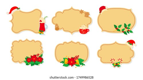 Christmas label and tag flat set. Cartoon holiday collection beige christmas patch labels. Christmas tags decorated objects, holly mistletoe, candy hat. New Year collection. Vector illustration