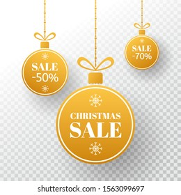 Christmas label. Winter price tag. Gold Merry Christmas and New Year balls sale. Holiday design elements on transparent background. Vector illustration.