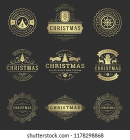 Christmas labels and badges vector design elements set. Merry christmas and happy new year wishes retro typography decoration objects for greeting cards vintage ornaments.