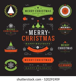 Christmas Labels and Badges Vector Design Elements Set. Merry Christmas and Holidays Wishes Retro Typography Decoration objects and symbols, vintage ornaments.