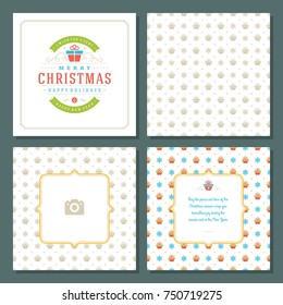 Christmas labels and badges vector design elements set and greeting cards templates. Merry Christmas and Holidays wishes retro typography decoration objects, vintage ornaments.