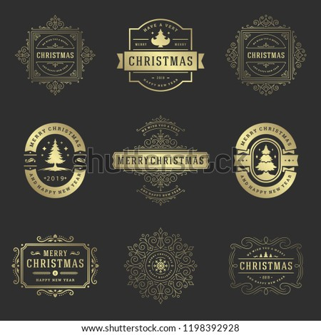 Christmas Labels Badges Vector Design Elements Stock Vector Royalty