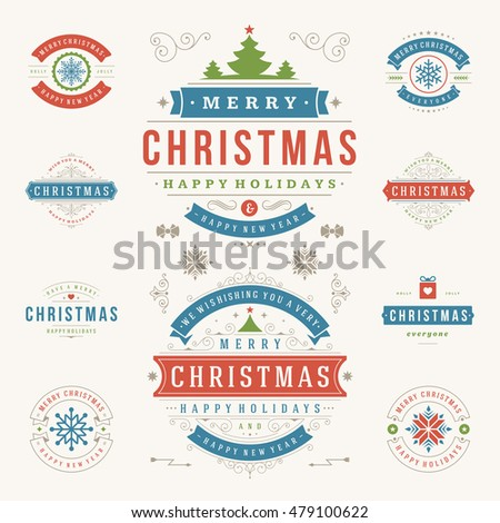 Merry Christmas Labels.Christmas Labels Badges Vector Design Elements Stock Vector