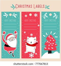 Christmas labels and decoration vectors