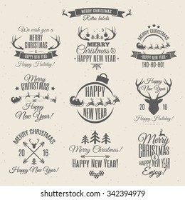 Christmas labels elements vector set with santa and deer, christmas ball, snowflake, gift, sweet on holiday background. Holiday decoration element.