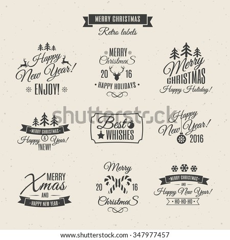 Christmas Labels Elements Vector Set Santa Stock Vector Royalty