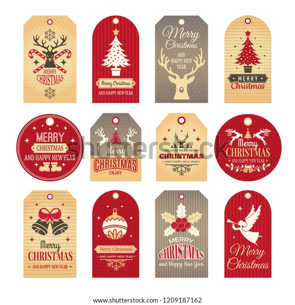 Christmas Labels Holiday Tags Badges Funny Stock Vector (Royalty