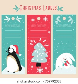 set cute christmas tags labels gifts stock vector royalty free
