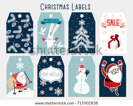 Christmas Labels Template Stock Vector Royalty Free 715902838
