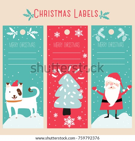Christmas Labels Template Stock Vector Royalty Free 759792376