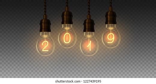 Christmas lamp light bulbs Illuminated new year 2019. Vector