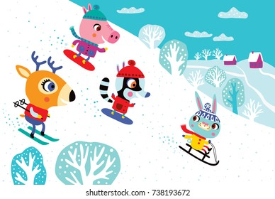 Christmas landscape with cute animals. Childish vector illustration. Winter outdoor activity.